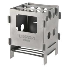 Lixada Portable Titanium Lightweight Folding Wood Stove Pocket Stove Outdoor C
