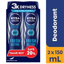 NIVEA FOR MEN Fresh Active Spray 150ml x 2s