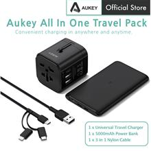 Aukey TA-1 3 In 1 Travel Kit Pack With USB C Power Bank Travel Charger