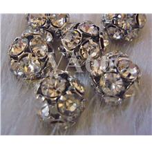 8mm Silver Czech Crystal rhinestone Fire ball 10mm,12mm, 14mm Spacers
