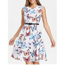 Butterfly Print Vintage Dress with Belt (WHITE)