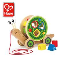 [From USA]Award Winning Hape Walk-A-Long Snail Toddler Wooden Pull Toy.