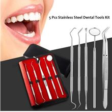 5pcs Stainless Steel Dental Tools Kit Teeth Tartar Scraper Mouth Mirror Dentis