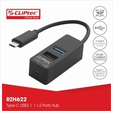 CLiPtec CONTACT Type-C USB3.1 1 +2 Ports Hub RZH622