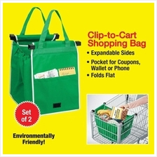 2pcs GRAB BAG Grocery shopping Bag Foldable Tote Eco-friendly Reusable