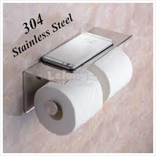 304 Stainless Steel Double Wall Mount Toilet Paper Holder Tray 2357.1