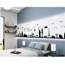wall sticker building car tower aeroplane cloud black&white series