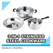 3 in 1 multipurpose stainless steel cooking pot frying pan steamer