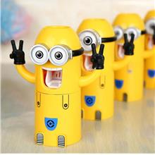 CUTE MINIONS CARTOON TOOTHBRUSH HOLDER AUTOMATIC TOOTHPASTE DISPENSER