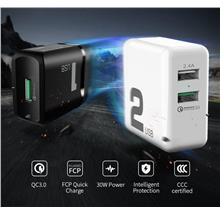 rock space T13 Dual Ports QC 3.0 Travel Charger