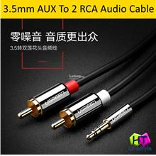 High Quality 3.5mm Stereo AUX To 2 RCA Audio Cable (2 Meter/3 Meter)