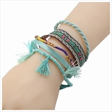 FASHION MULTILAYER WRAPPING HANDMADE BRACELET (BLUE)