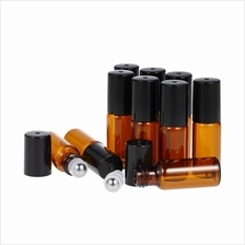 10 Pcs 5ml Essential Oils Roller Bottle Amber Glass Roll-on Bottles Stainless