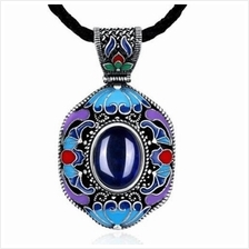 N008-A WOMEN NATIONAL STYLE NECKLACE (BLUE)