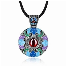 N007-B ROUND DIAMOND NATIONAL STYLE NECKLACE FOR WOMEN (RED)