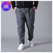 Plus Size Men Zip Pockets Casual Work Long Trouser Pants