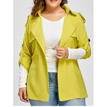 PLUS SIZE RAGLAN SLEEVE LAPEL BELTED JACKET (FLUORESCENT YELLOW)