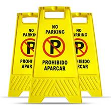 [FromUSA]MYSBIKER No Parking Sign 3 Pack Yellow Sign Stand-Up Floor Signs Read