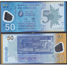 Uruguay 2017 Fifty 50 Pesos UNC (Polymer, 50th COMM)
