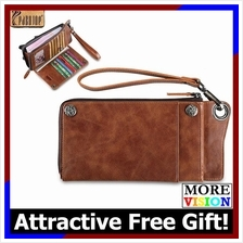 Pabojoe Genuine Cowhide Leather Men Long Wallet Bag Brown New Design
