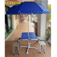 Aluminium Folding Picnic Table Chair with Umbrella
