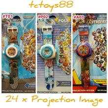POKEMON POLI & TOBOT. PROJECTION WATCH with 24 x IMAGES. TOY WATCH NEW