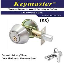 KEYMASTER A101 SINGLE SIDED DEADBOLT LOCK STAINLESS STEEL COLOUR