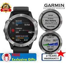 Garmin Fenix 6 Silver with Black Band - Premium Multisport Watch GPS/G)