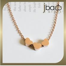 Triple Love Shaped 18k Rose Gold Plated Titanium Necklaces Birthday Gift