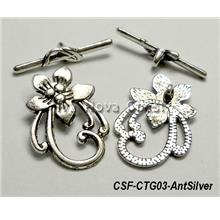Clasp Toggle Flower (large) antique silver (set of 5)