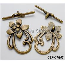 Clasp Toggle Flower (large) bronze (set of 5)