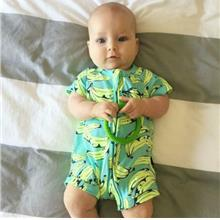 Banana Printed Cotton Baby Zipper Short Sleeve Rompers Jumpsuit