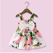 Baby Girls Bowknot Lemon Flower Print Skirt Dress