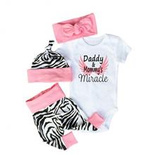 Girl 4 Piece Short Sleeve Lap Shoulder Baby Girls Bodysuit Sets