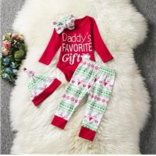 3 Piece Long Sleeve Lap Shoulder Baby Girls Bodysuit Sets