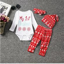 Christmas Suits 3 Piece Pattern Long Sleeve Lap Shoulder Baby Bodysuit
