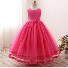 Girl Sleeveless Chiffon Long Tail Tutu Flower Dress