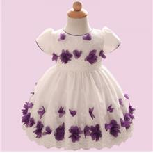 Girl Tutu Knee-length 3D Flower Bow Belt Dress for Baby Girls