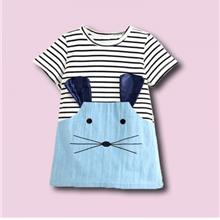 Girl Cotton Striped Mouse Pattern Short Sleeve Leisure Dress