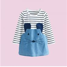 Girl Cotton Striped Mouse Pattern Long Sleeve Leisure Dress