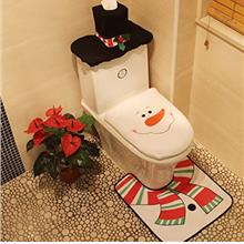 Christmas Snowman Toilet Seat Cover Commode Set for Bathroom Christmas Decorat