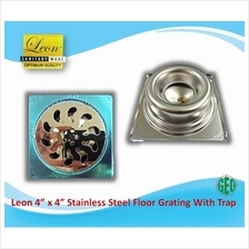 "LEON 4 "" X 4 "" STAINLESS STEEL FLOOR GRATING WITH TRAP FG404"