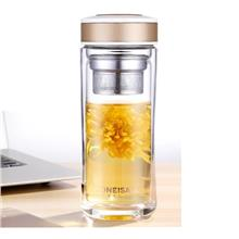 Thermos Double Wall Glass Mug with SS Tea Infuser Portable Tea Bottle
