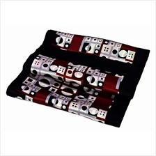 [From USA]Black Red White Abstract Printed Double Layer Long Pure Silk Scarf