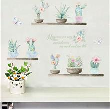 3d Effect Pastoral Fresh Wall Sticker Plant Cactus Wall Decals Nursery