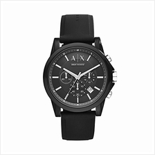 [From USA]AX Armani Exchange Men's Chronograph Silicone Watch (Black)