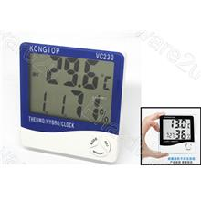 KINGTOP LARGE LCD DISPLAY DIGITAL THERMOMETER HYGROMETER CLOCK (VC230)