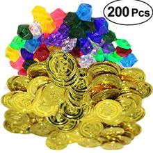 [Good Choice]TOYMYTOY 200 Pieces Gold Coins Gems Jewelry Pirate Toy Playset Pi