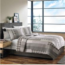 [From USA]Eddie Bauer Fairview 3 Piece Cotton Reversible Quilt Set King Gray (