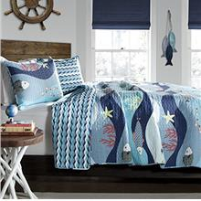 [From USA]Lush Decor Sealife Fish Ocean Wave Reversible 2 Piece Blue Quilt Bed